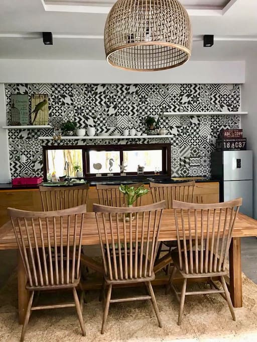 Kitchen with a large table