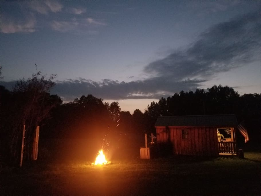 An evening under the stars at the cabin.  Fire wood stocked for your convenience.