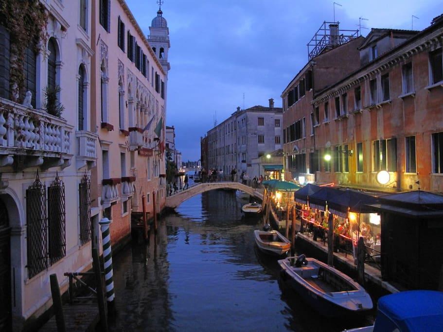 Night VIEW of the fondamenta and the Ai greci bridge