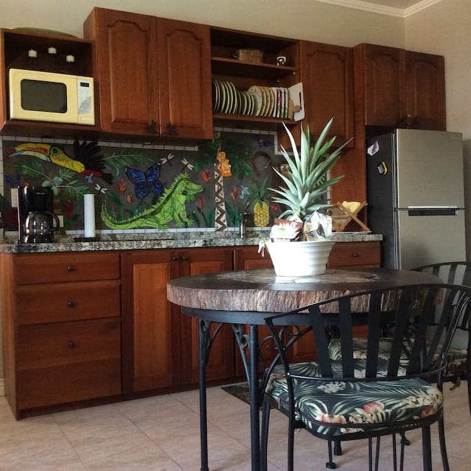 Well equipped kitchen. Glass mosaic backsplash done by Christina.