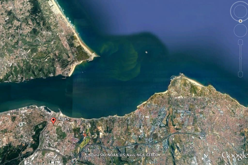 HOUSE STRATEGIC LOCATION (red dot) | LISBON ENTRANCE FROM THE SEA