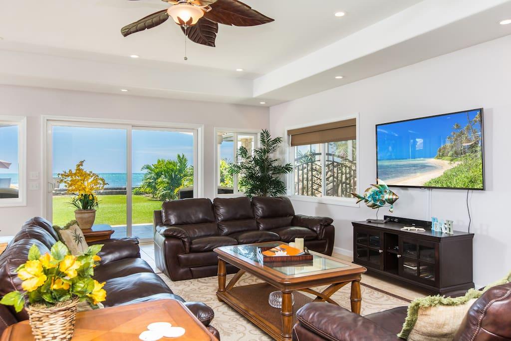 Living room in main house, ocean views