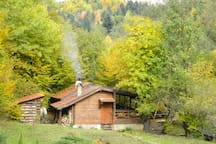 Our wood-burning sauna right near the mountain brook