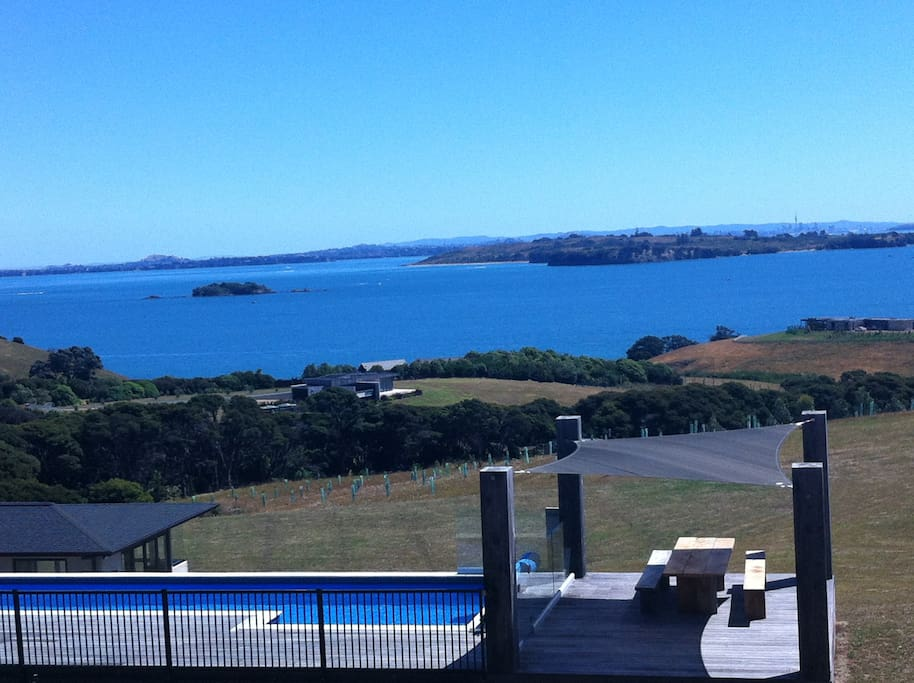 15m Heated Swimming Pool looking back over Motohe Island & Auckland City