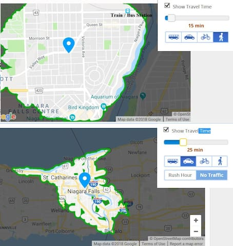 Maps with travel times to transit, sites and nearby cities. (Credit: Google Maps)