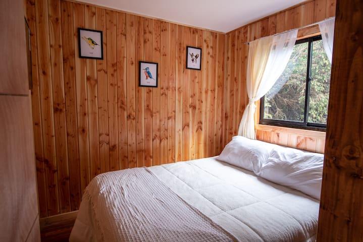 Habitación principal con cama de 2 plazas y hermosa vista, decoración de aves nativas de Valdivia creadas por artistas de la zona.