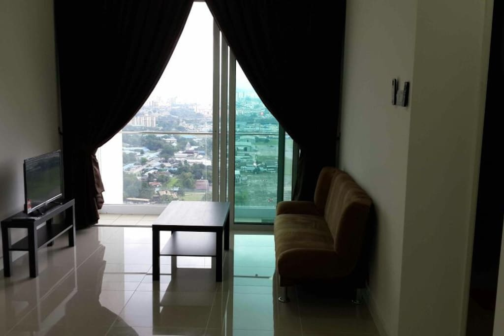 Living room with great night view of KL city centre