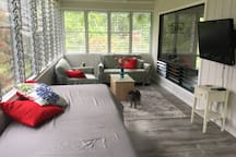 The inside Lanai sleeps one on a single XL day bed.  A folding comfy memory foam floor mattress can be added to this area or any room you like.