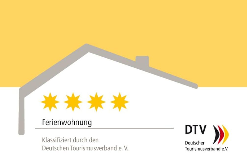 Das Apartment ist vom Deutschen Tourismusverband e.V mit 4 Sternen bewertet!