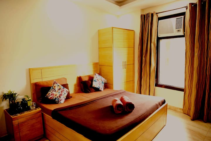 King size Bed Room Balcony view City Centre Delhi