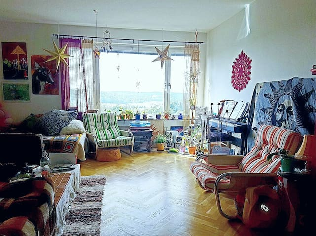 Spacious livingroom with amazing view over sunset! - Göteborg - Daire