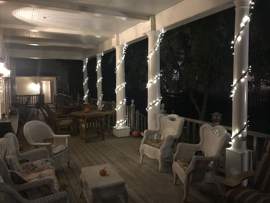 Enjoy the tranquility enriched by crickets - evening at Andor Wenneson Historic Inn Porch