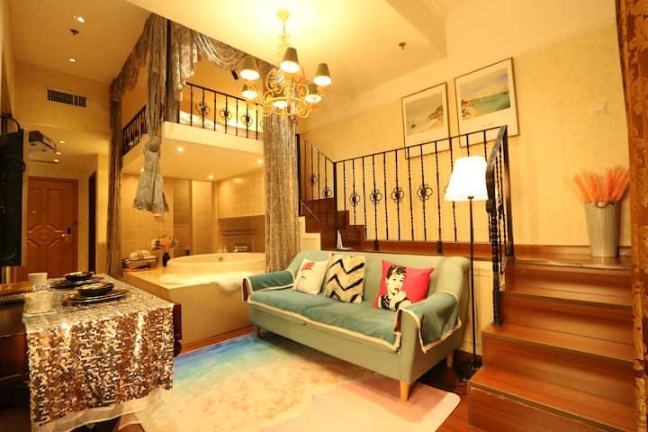 北京朝阳国展精致loft公寓浪漫私汤独享整套阳光