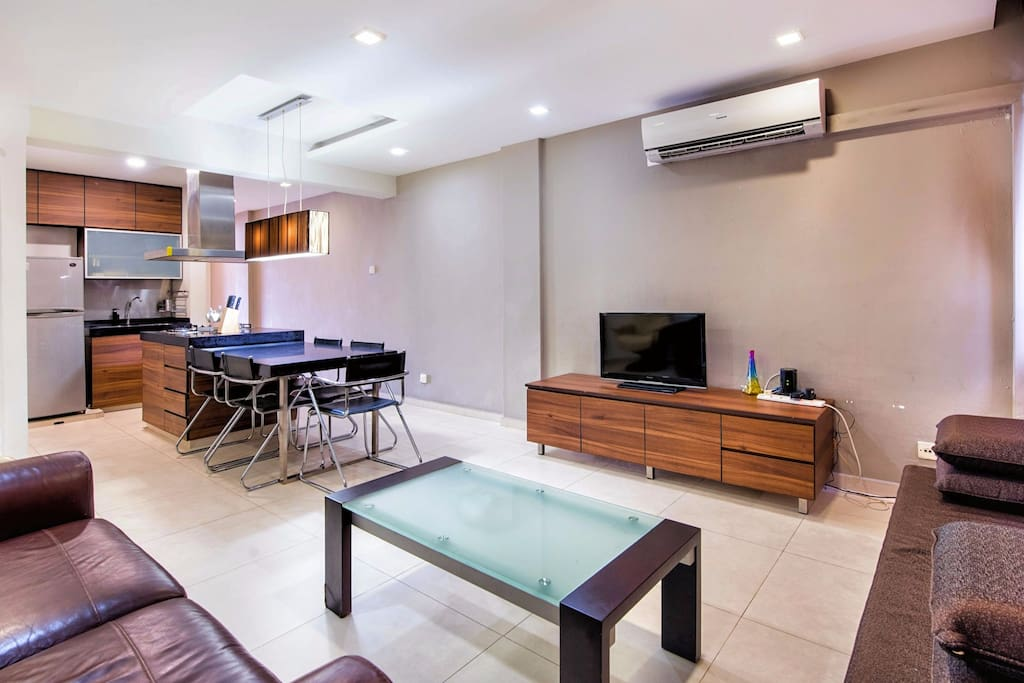 Relax in the living room with the air-con and television
