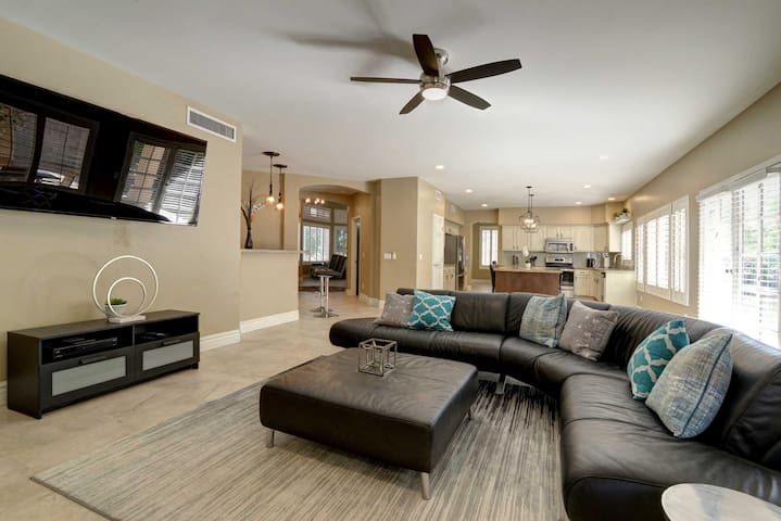 Relax in the spacious living room during downtime.