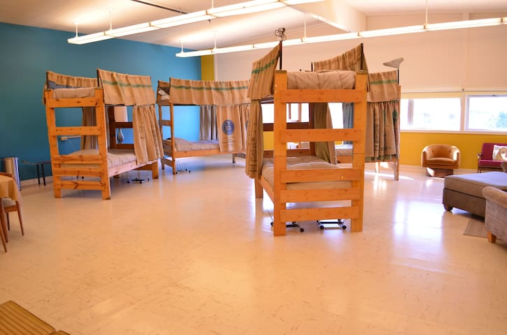 The bunks with privacy curtains made with coffee bags donated by Sorbenots Coffee here in Baker City.