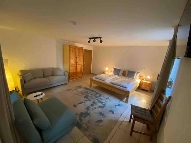 Das ist der Schlaf- und Wohnzimmer Bereich mit Kleiderschrank, Schlafcouch, Flachbildschirm TV und 1,80m Doppelbett.