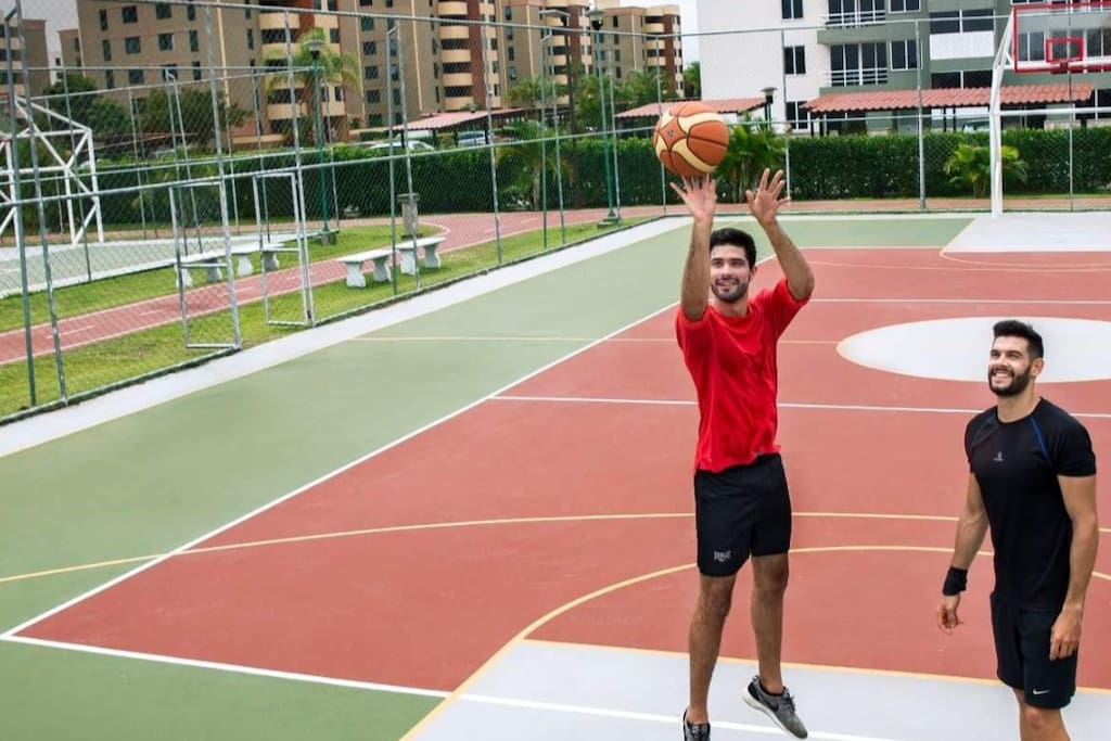 Basketball and volleyball court and jogging track