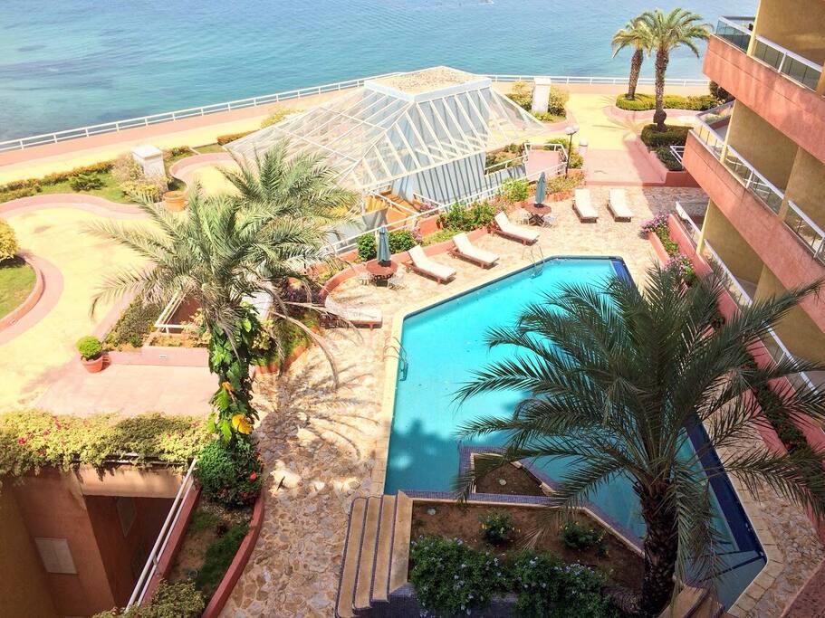 Vista desde el balcón, piscina del edificio