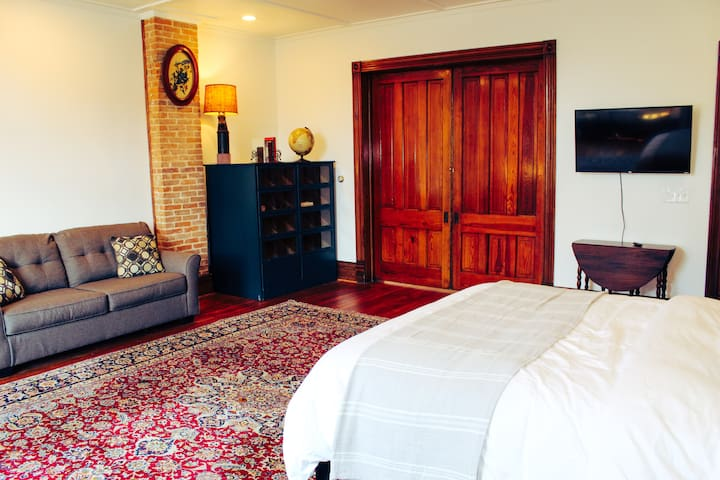 The pocket doors can be closed and locked for added privacy. Photo Credit- Liz Voss