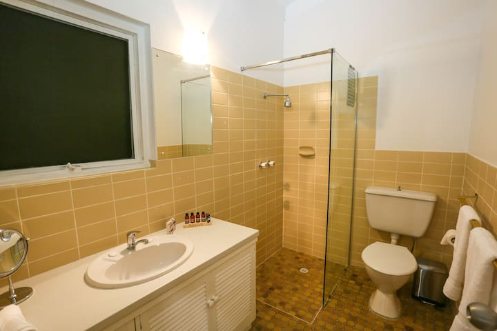 Good water pressure in shower and complimentary bathroom products supplied.