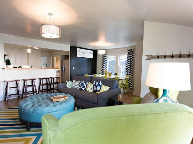 Open concept connects living, dining, and kitchen areas