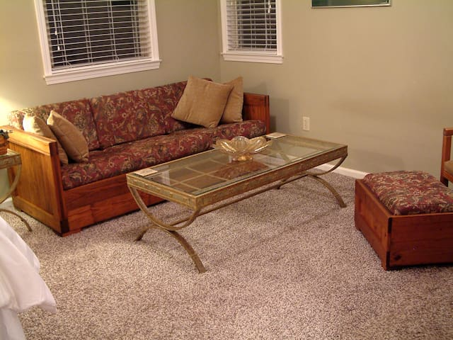 Sitting area with coffee table.
