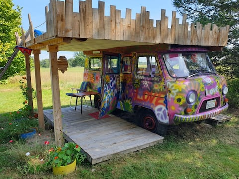 Hippie bus with nature view in northern Latvia