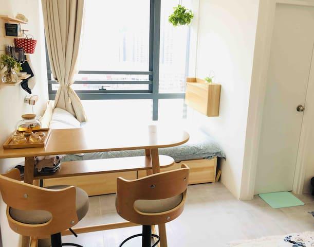 Bright Cozy Studio - 舒適開放式公寓(8分鐘到太子/旺角/奧運站)