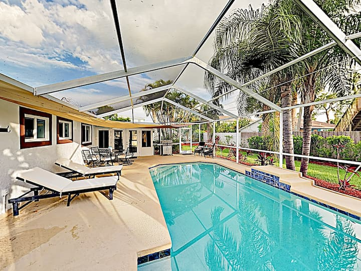 Charming Getaway w/ Screened Pool, Walk to Beach!