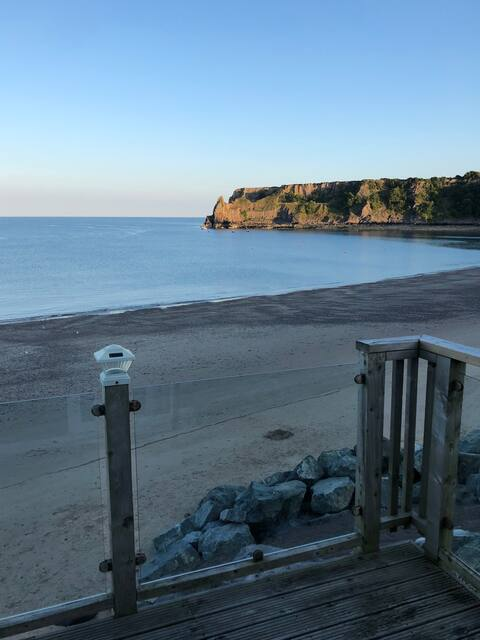 Beach front lodge at Lydstep Haven