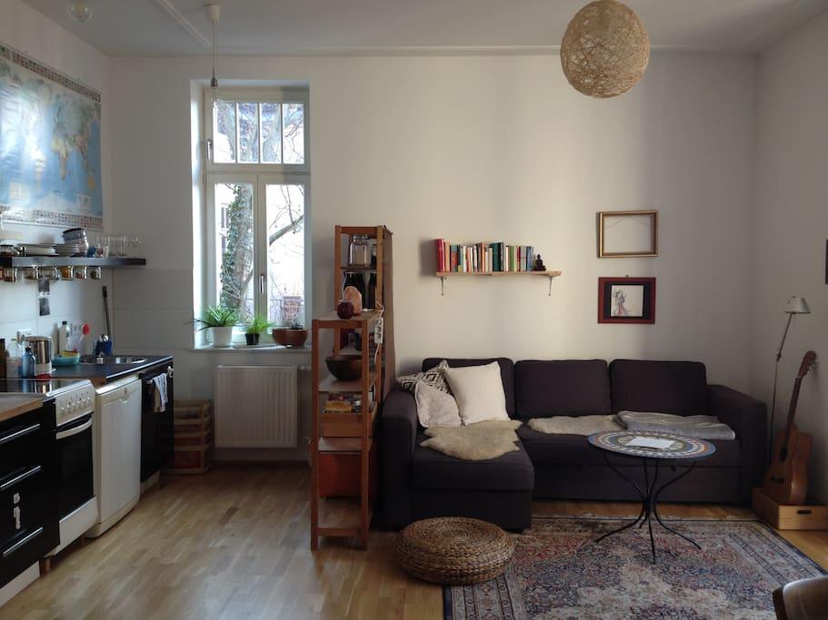 Wohnzimmer mit Küche/livingroom with kitchen