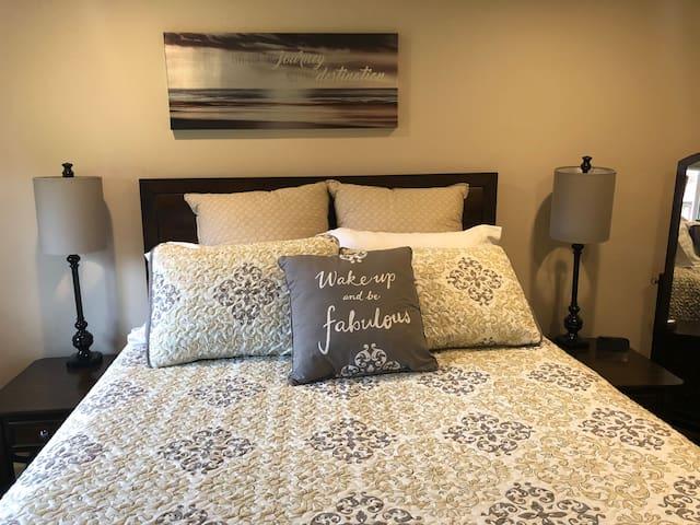 Bedroom 1-Queen size, Pillow top mattress.