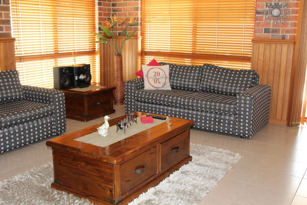 Living Area with 2 Double Sofa Beds and Stereo/CD Player