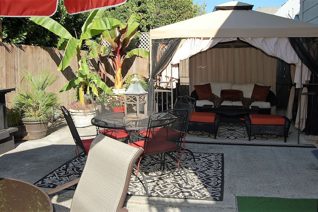 Large outdoor living area, private and spacious and only a block away from all the activity