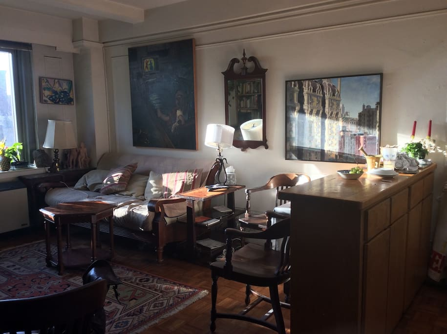 Sun-drenched living room in the Late afternoon