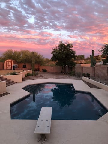 Quiet, spacious yard to enjoy the pool and sunsets
