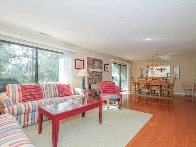 Living Room and Dining Area both with Back Yard Access at 18 Sailmaster Common