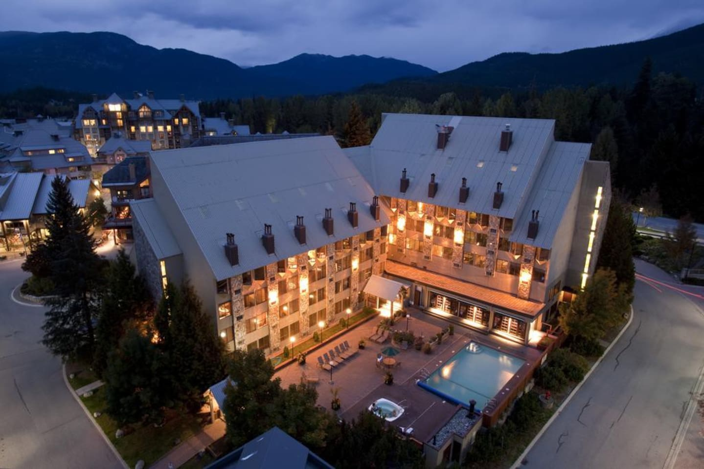 Pool, Jacuzzi, back of building, faces Whistler and Blackcomb  Photos are from Mountainside Lodge website. Each room will have slightly different decor.  The amenities are all the same.
