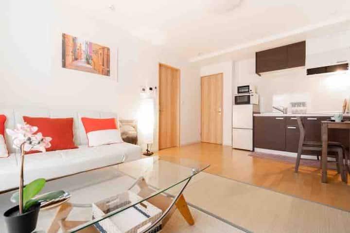 202室,Free parking,45平米大空间,榻榻米客厅。客厅、卧室、浴室、厨房、卫生间齐全