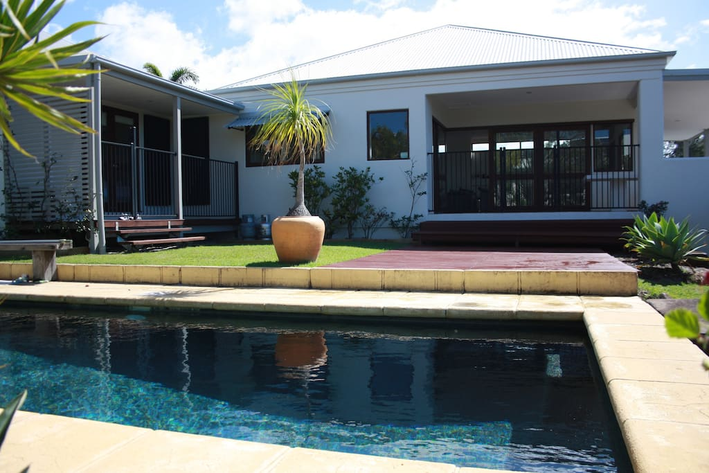 The saltwater pool has a cover & keeps really warm so the kids can happily play all day long