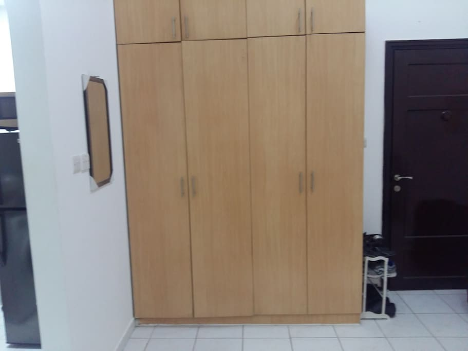 Full wooden door cabinets with Mirror and Shoe rack