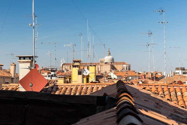 view of the venetian roofs from the livingroom