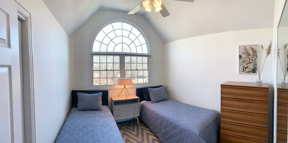 """""""Serene"""" - Guest bedroom 2 with two Twin XL beds and closet"""