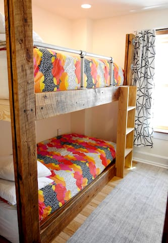Bedroom #3 Luxe Adult Extra Long bunk beds. (Kids will love them too :) Handmade with reclaimed barn beams.