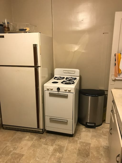 Kitchen with refrigerator and stove for your use.  Just clean up after oneself!