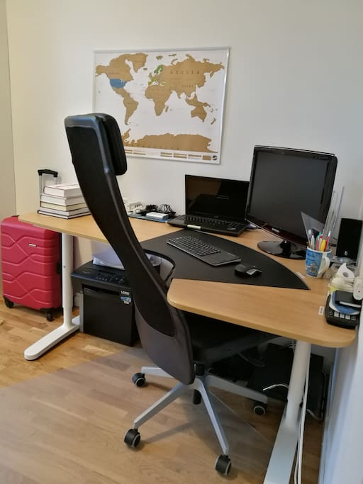 Desk and comfortable office chair