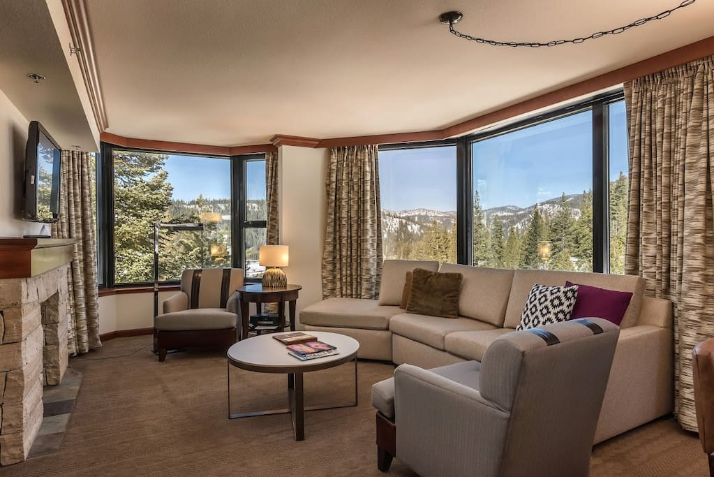 The remodeled living room has one of the most spacious floor plans at the Resort.