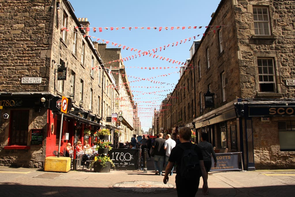 Magnificent, pedestrian only Rose Street. The heart of the city centre.