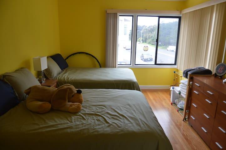 舊金山日落區舒適雙床房,近海灘及金門公園